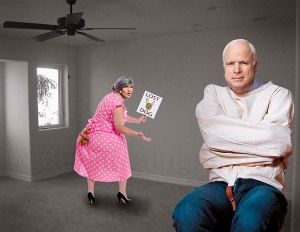 John McCain and Sarah Palin in the emptied campaign headquarters last night.