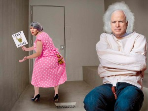John McCain mumbles as Sarah Palin searches for her pitbull.